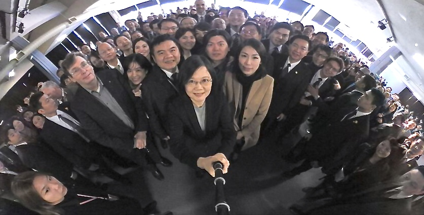 360 degree picture of President Tsai and the Taiwanese delegation at Plug-and-Play on January 14, 2017 to open the new Taiwan Silicon Valley innovation center. I am the third person on the left of the President in the picture.